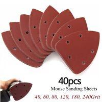 40 Mouse Sanding Sheets Paper 40-240Grit for Black & Decker Detail Palm Sander