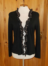 VIYELLA black beige long sleeve chiffon trim frill cardigan jacket top S 10-12