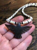 #1127 Vintage 1970s Carved Black Eagle Fetish, White Puca Mother Of Pearl Heishi