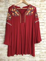 Umgee Women's Small Red Embroidery Floral with Bell Sleeves Blouse Top