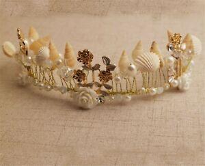 Women Mermaid Sea Conch Shell Metal Gold Hair Band Headband crown Tiara