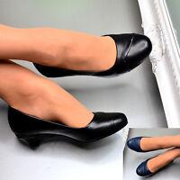 Ladies Low Heel Court Shoes Kitten Heel Comfort Padded Work Office Slip On Pumps