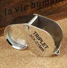 Micro 30x21mm Folding Magnifier Loop Magnifying Glass Jeweler Eye Jewelry Loupe