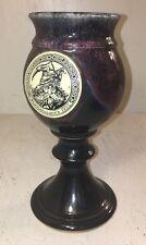 "John Coiner Renaissance 1995 (WIZARD) Wine Chalice Goblet Black Drip Glaze 8"" T"