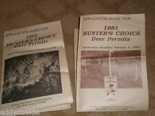 1 Each: APPLICATION GUIDE FOR 1981 & 1982 HUNTERS CHOICE Deer Permits with Maps