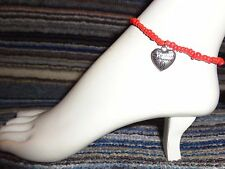 charm ankle bracelet beads stretchy Heart cancer ribbon alloy silver
