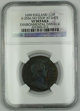 1699 England 1/2 Penny Silver Coin S-3556 No Stop at Date NGC VF Dtl Env Dmg AKR