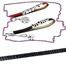 1 meter Black Leather Phone Strap 8mm Flat Cord - A7200