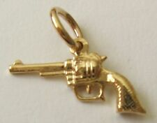 GENUINE SOLID 9K 9ct YELLOW GOLD 3D REVOLVER Charm/Pendant
