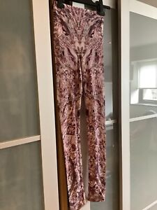 Alexander McQueen Marble Patterned Pink Leggings Size Small