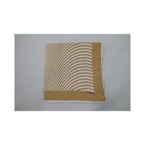 New Tom Ford Silk Pocket Beige Circular Stripes