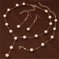 Multilayer Fashion Pearl Necklace Bracelet Earrings Gold Plated Jewelry Sets S!