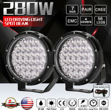 Spotlight 7inch Cree 280W LED Driving Light Pair Black SuperLux 4WD Boat HID SUV