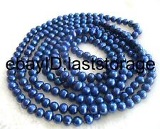 "freshwater pearl 6-7mm deep blue near round  necklace 60"" wholesale bead nature"