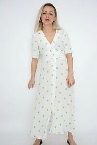 New Ex Nobodys Child White+Blue Polka Dots Print Button Front MidiDress Size6-14