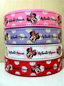 """Minnie Mouse Ribbon in Pink, White, Red or Purple 1"""" Wide 1m is only £1.49 NEW"""