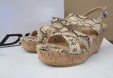 NIB DKNY Clarissa Snake Print Embossed Cork Wedge Sandal on Natural Color