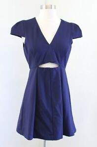 Halston Heritage Navy Blue Cutout Cap Sleeve Fit and Flare Mini Dress Size 4