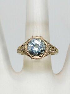 Estate $2400 3ct Natural Aquamarine 14k White Gold Filigree Ring