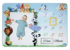 Milestone Blanket with 2 Frames - Large Month Baby Blanket for Boy Girl 60x40