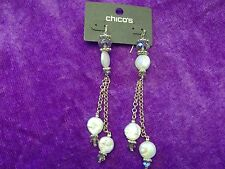 Chico's MOLLY Linear Earrings Cultured Pearls New with Tag & Bag