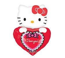"29"" Mylar HELLO KITTY I love you Heart Cute Valentine Love Party Balloon"