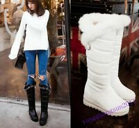 80% Women Winter Fur Trim Linning Mid Calf Snow Boots Hidden Heel Pull On Shoes