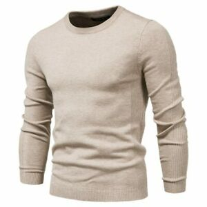 Winter Thickness Pullover Men O-neck Solid Color Long Sleeve Warm Slim Sweaters
