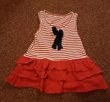 Cute Red and White Stripped Dress/Tunic Age 9-12 Months
