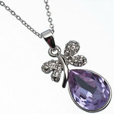 11.26 Ct Pear Cut Style Shape Purple Amethyst CZ 18K White Gold Plated Pendant