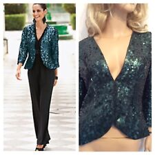 TOGETHER Size 10 Green All Over Sequins Evening JACKET Party £115 Xmas Occasion