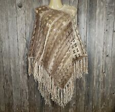 Womens Cream Beige Ombre Poncho Sweater Hand Crochet Boho Hippie Soft Fringe