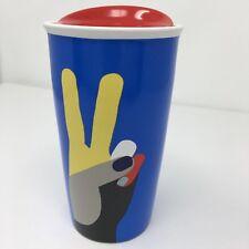 Starbucks Peace Sign Art Travel Ceramic Tumbler Coffee Multicolors Love Hands