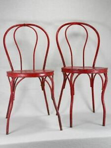 6 antique Italian garden chairs - metal painted red