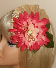 OOAK Handmade Flower, Leaf, Lame', Faux Pearl, Barrette Hairpiece