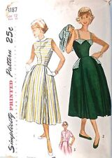 Vintage 1940s Sewing Pattern Simplicity #3187 Dress, Jacket Size 12, Bust 30
