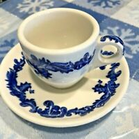 Jackson China expresso  demitasse 2 cups and saucers blue and white vintage