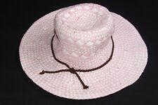 Titre en gras Femme Rose/Blanc paille Cowgirl Style Hat avec Brown détail (S228B)