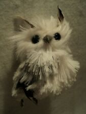 "Kurt S. Adler  ~ ""FURRY WHITE & SILVER OWL"" ORNAMENT  ~ CUTE"