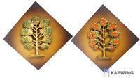2 Mid Century Modern Syroco Wood Wall Dimensional Plaques Leaf Tree Syracuse NY