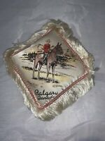 Vintage Miniature CALGARY Canada Souvenir Pillow, Royal Canadian Mounted Police