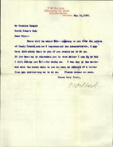 1901 South Bend Indiana (IN) Letter T. W. Slick Attorney at Law