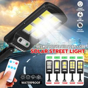 Outdoor Solar COB LED Sensor Light PIR Motion Wall Flood Down Lamp Street Remote