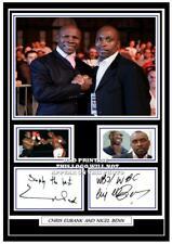 (#46). nigel benn & chris eubank boxing greats signed a4 photograph (reprint)