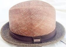KANGOL PORK PIE FEDORA DAPPER STRAW N FELT Brown 6 7/8 S Small MADE IN USA