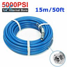15M 50Ft 1/4''Airless Paint Spray Hose Sprayer Light Flexible Fiber Tube 3300PSI