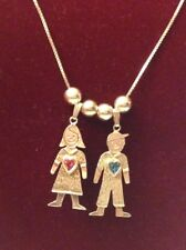 "Vintage Sterling Silver Necklace w/Boy & Girl Charm Pendants & Birthstones 20"""