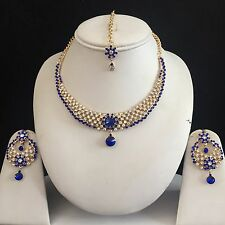 BLUE GOLD INDIAN COSTUME JEWELLERY NECKLACE EARRINGS CRYSTAL DIAMOND SET NEW 5