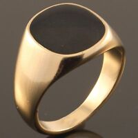 Yellow Gold Plated Onyx Pinky Ring - New Mens Signet Wedding Band - Sizes U to Z