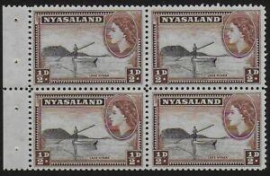 Nyasaland 1954 QEII 1/2d Black and Brown Booklet Pane - MNH